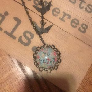 BE HAPPY charm with bird necklace PLUNDER DESIGN